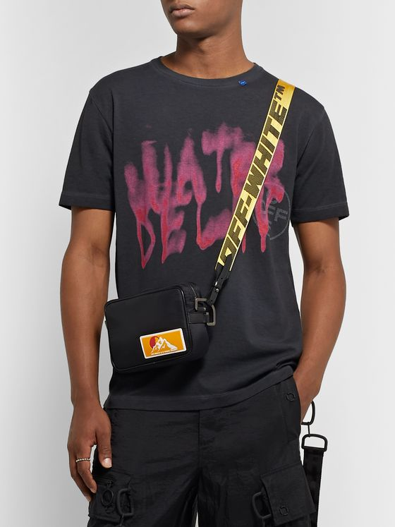 Off-White Appliquéd Shell and Logo-Jacquard Webbing Messenger Bag
