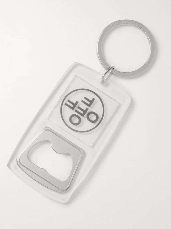 Off-White Logo-Print PVC and Silver-Tone Metal Bottle Opener Key Ring