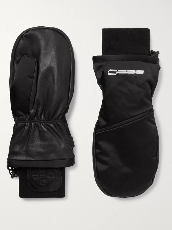 Off-White Printed Shell and Leather Mittens