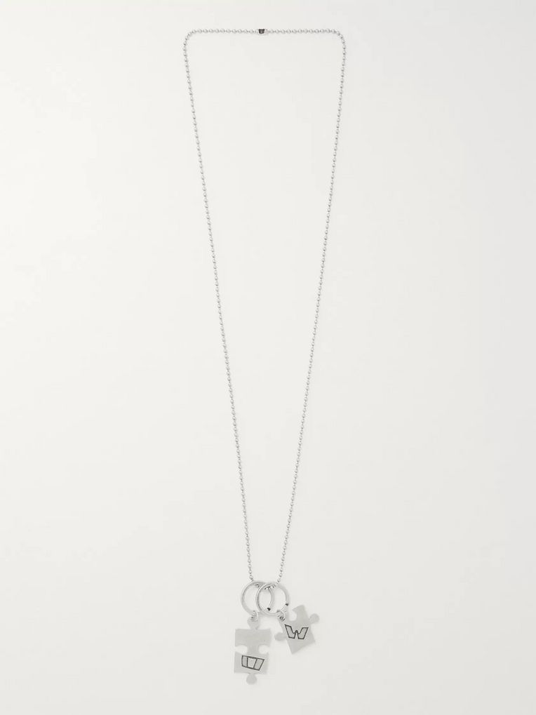 Off-White Puzzle Burnished Silver-Tone Necklace