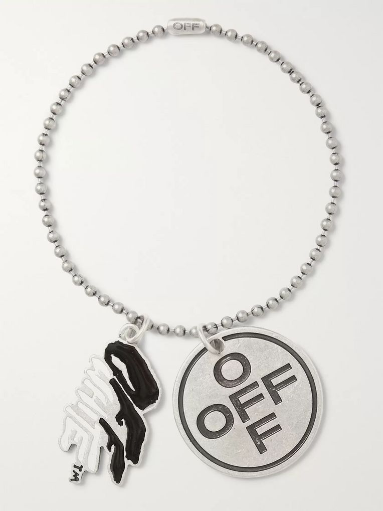 Off-White Burnished Silver-Tone and Enamel Bracelet