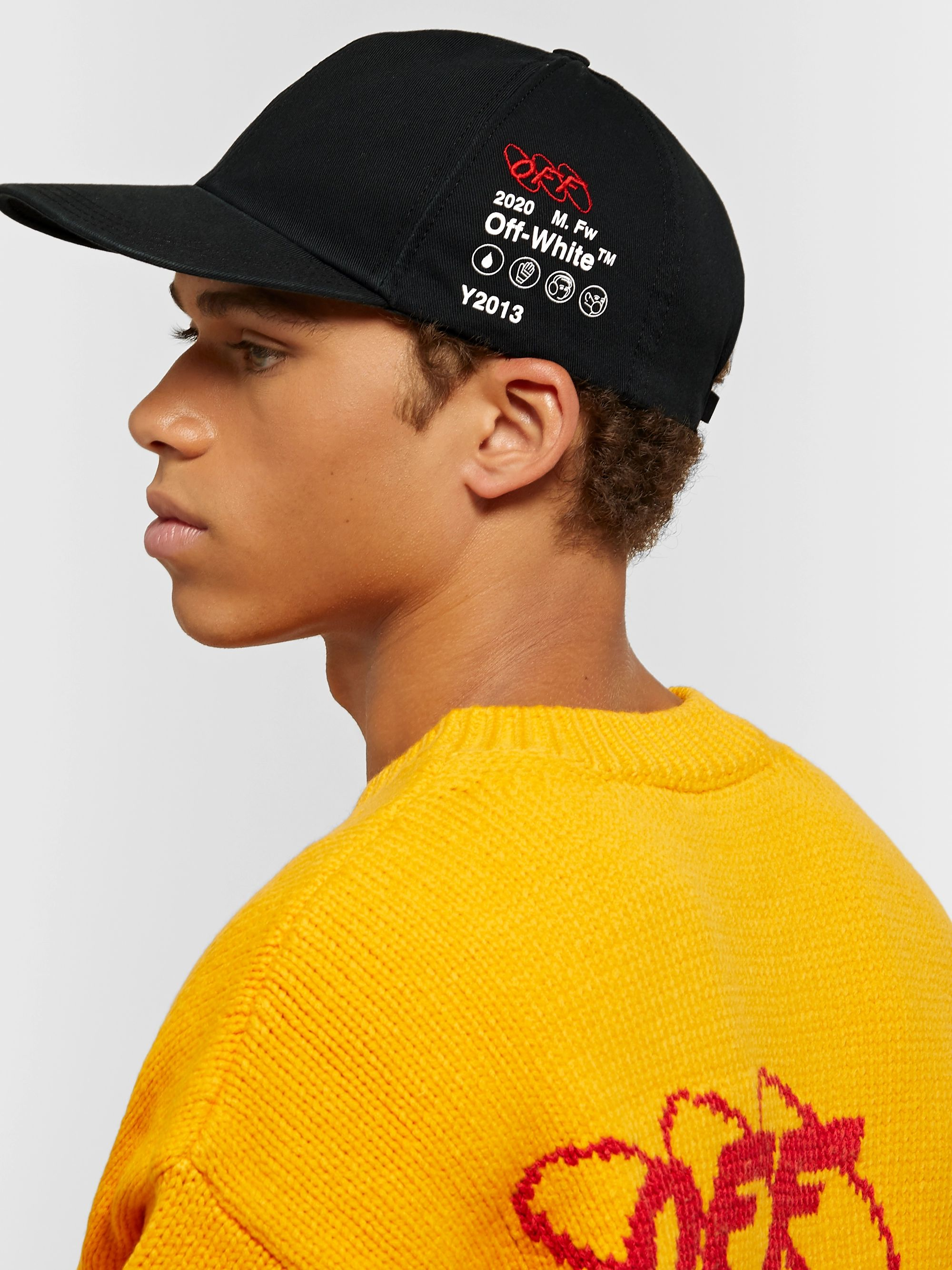 Off-White Industrial Logo-Embroidered Printed Cotton-Twill Baseball Cap