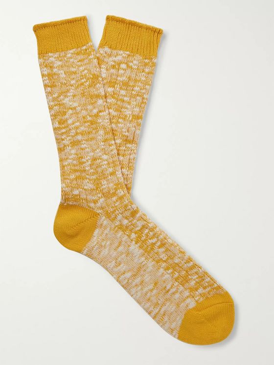 Mr P. Ribbed Mélange Cotton-Blend Socks