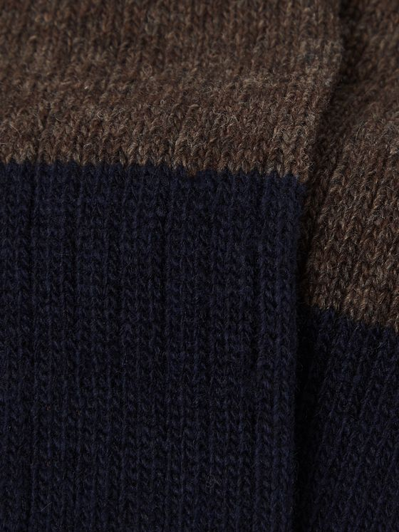 Mr P. Colour-Block Wool-Blend Socks