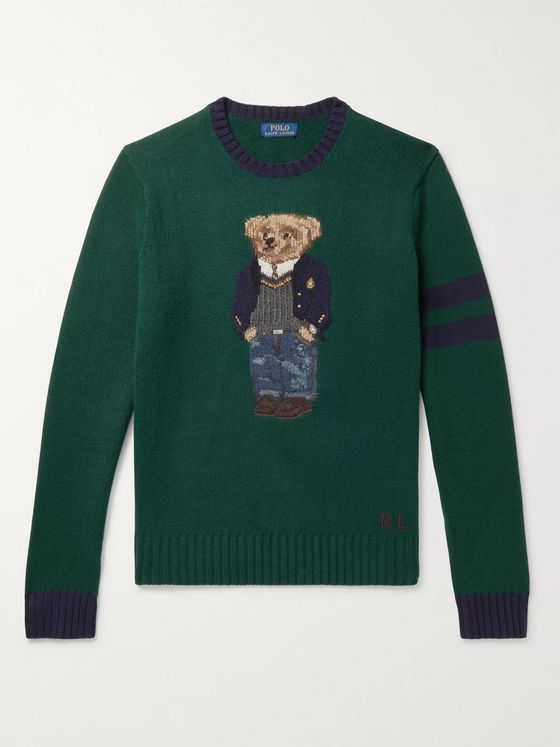 Polo Ralph Lauren Bear-Intarsia Striped Wool Sweater