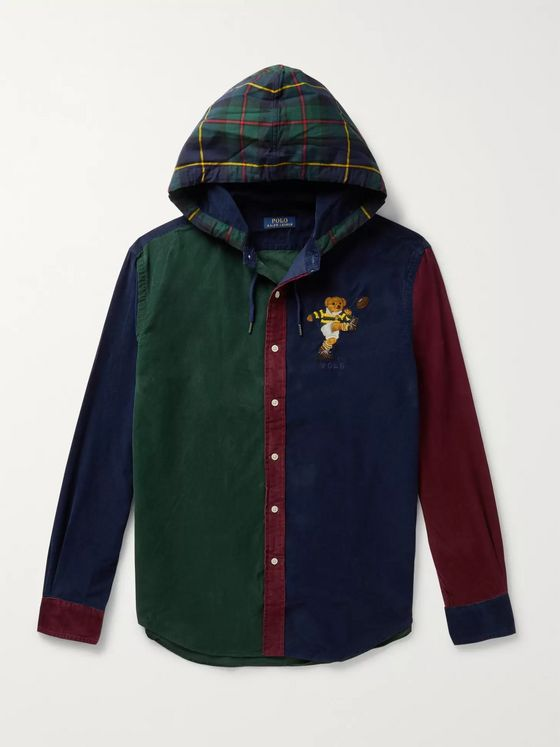 Polo Ralph Lauren Logo-Embroidered Checked Cotton-Corduroy Hooded Shirt