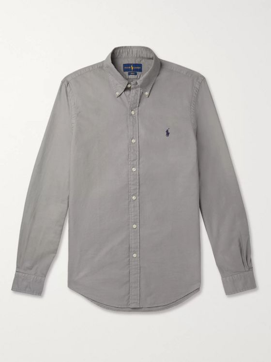 Polo Ralph Lauren Slim-Fit Button-Down Collar Garment-Dyed Cotton-Piqué Shirt