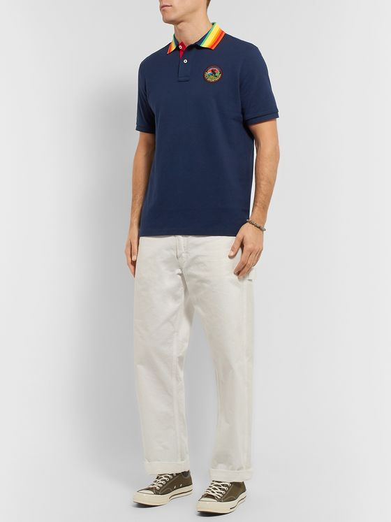 Polo Ralph Lauren Polo Sportsman Logo-Appliquéd Stripe-Trimmed Cotton-Piqué Polo Shirt