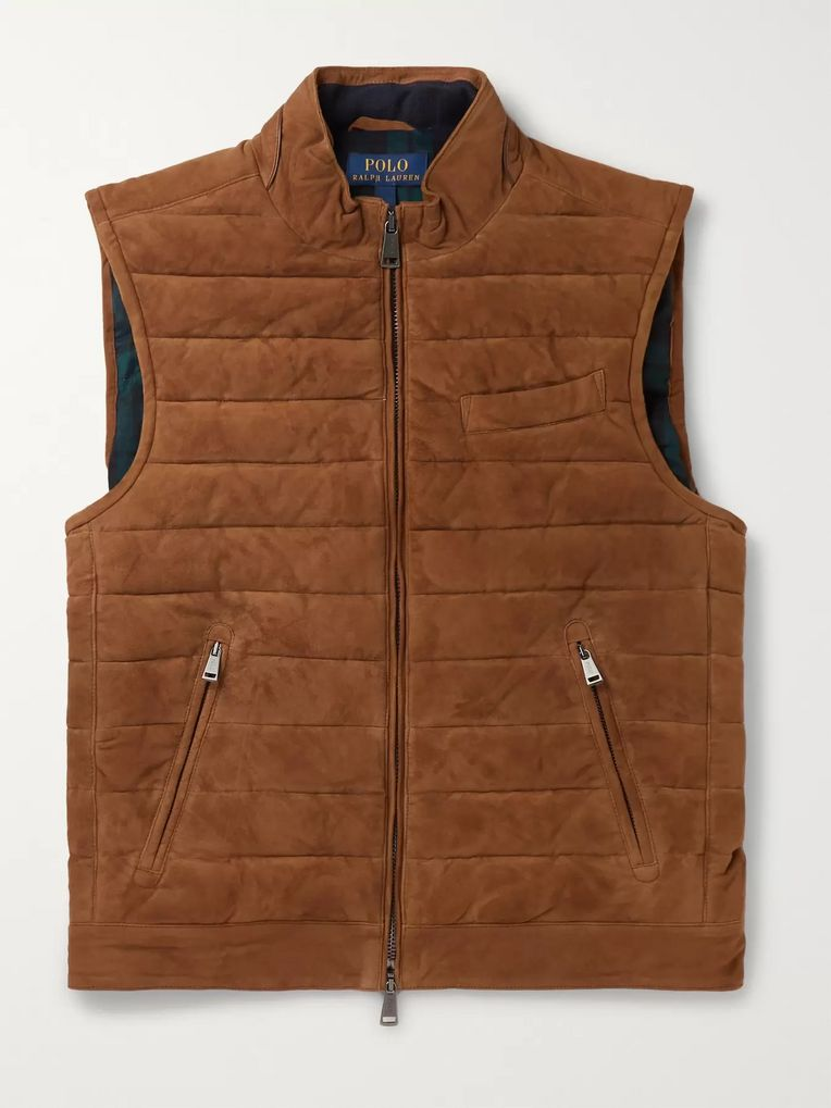Polo Ralph Lauren Quilted Suede Down Gilet