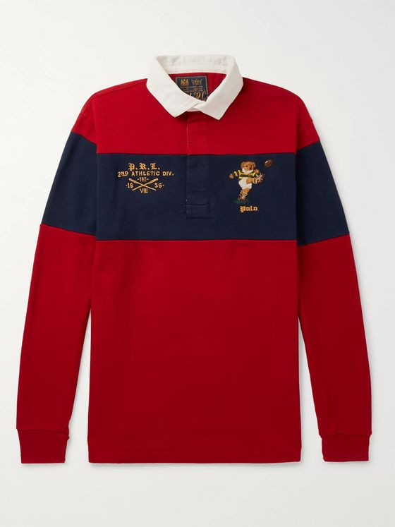 Polo Ralph Lauren Logo-Embroidered Twill-Trimmed Striped Cotton-Jersey Rugby Shirt