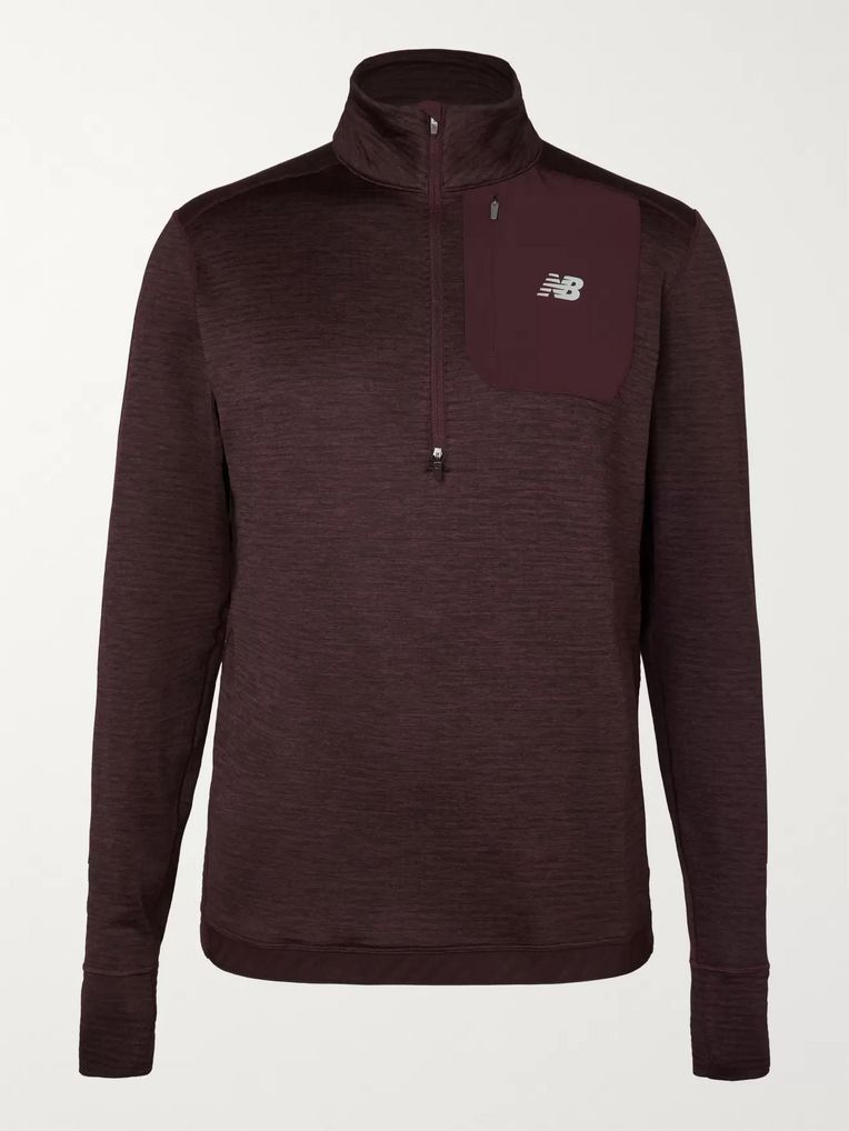 New Balance Mélange Stretch-Jersey Half-Zip Sweatshirt