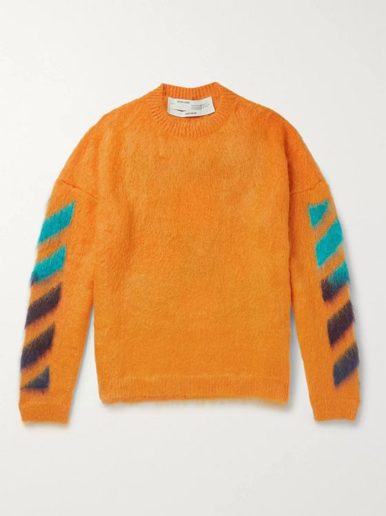 Off-White Logo-Jacquard Mohair-Blend Sweater