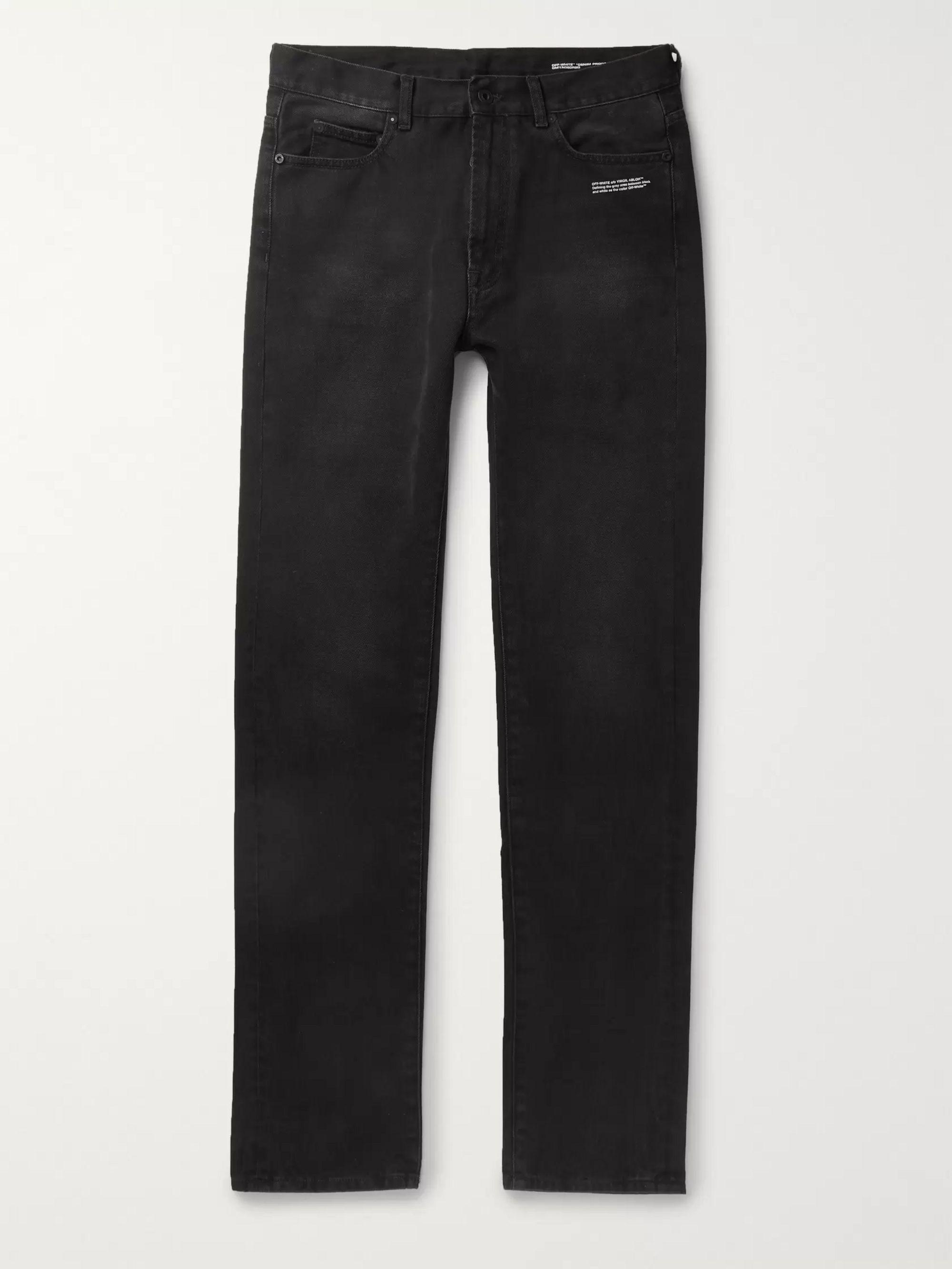 오프화이트 Off-White Black Logo-Embroidered Denim Jeans,Black