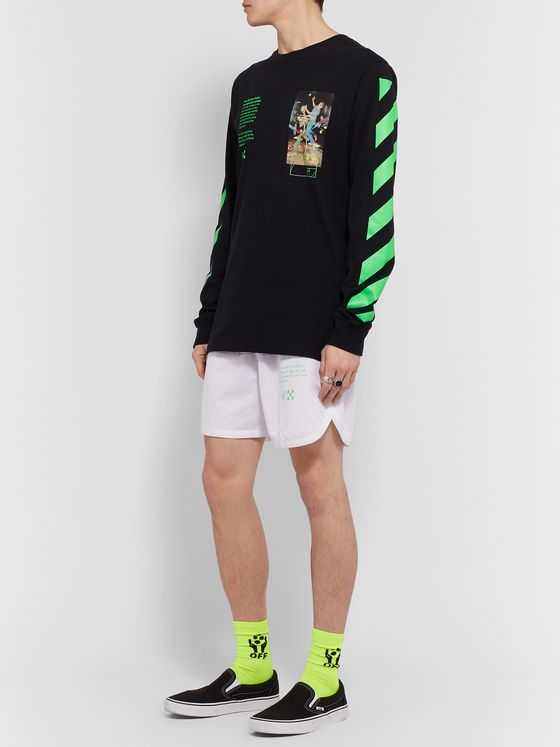 Off-White Slim-Fit Printed Mesh Shorts