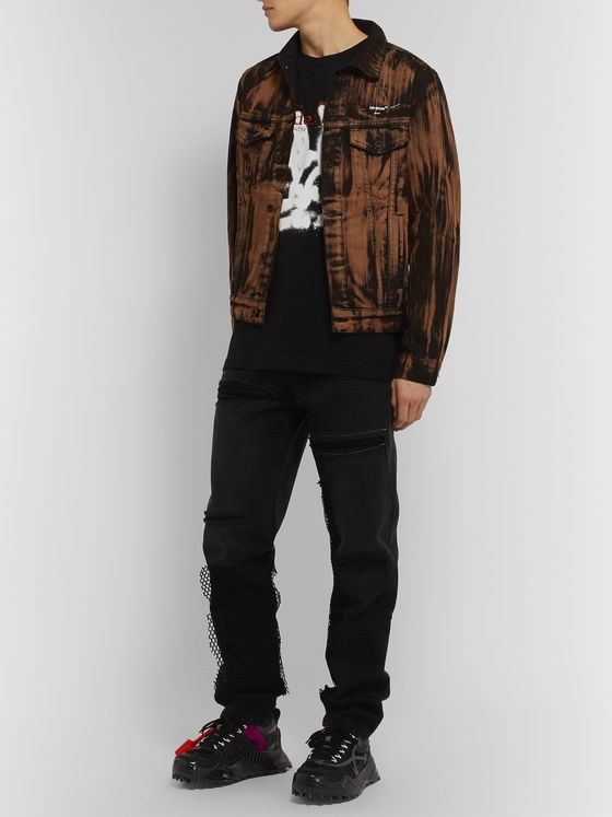 Off-White + EV BRAVADO Mesh-Trimmed Distressed Denim Jeans