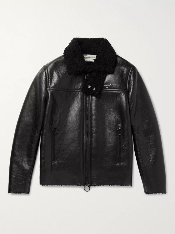 Off-White Logo-Print Shearling Jacket