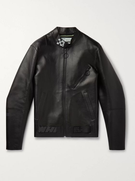 Off-White Webbing-Trimmed Printed Leather Jacket