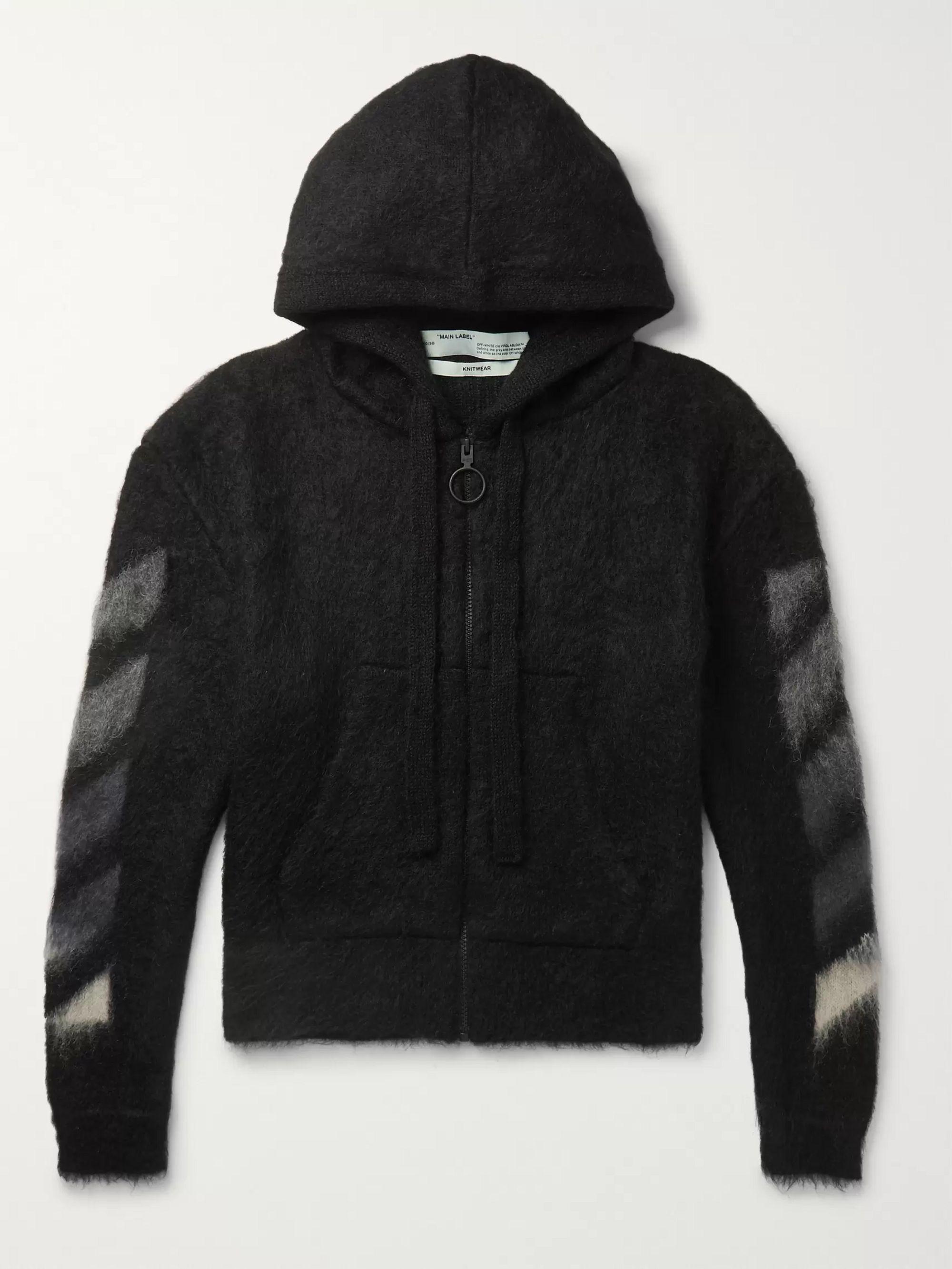오프화이트 Off-White Black Printed Brushed Mohair-Blend Zip-Up Hoodie,Black