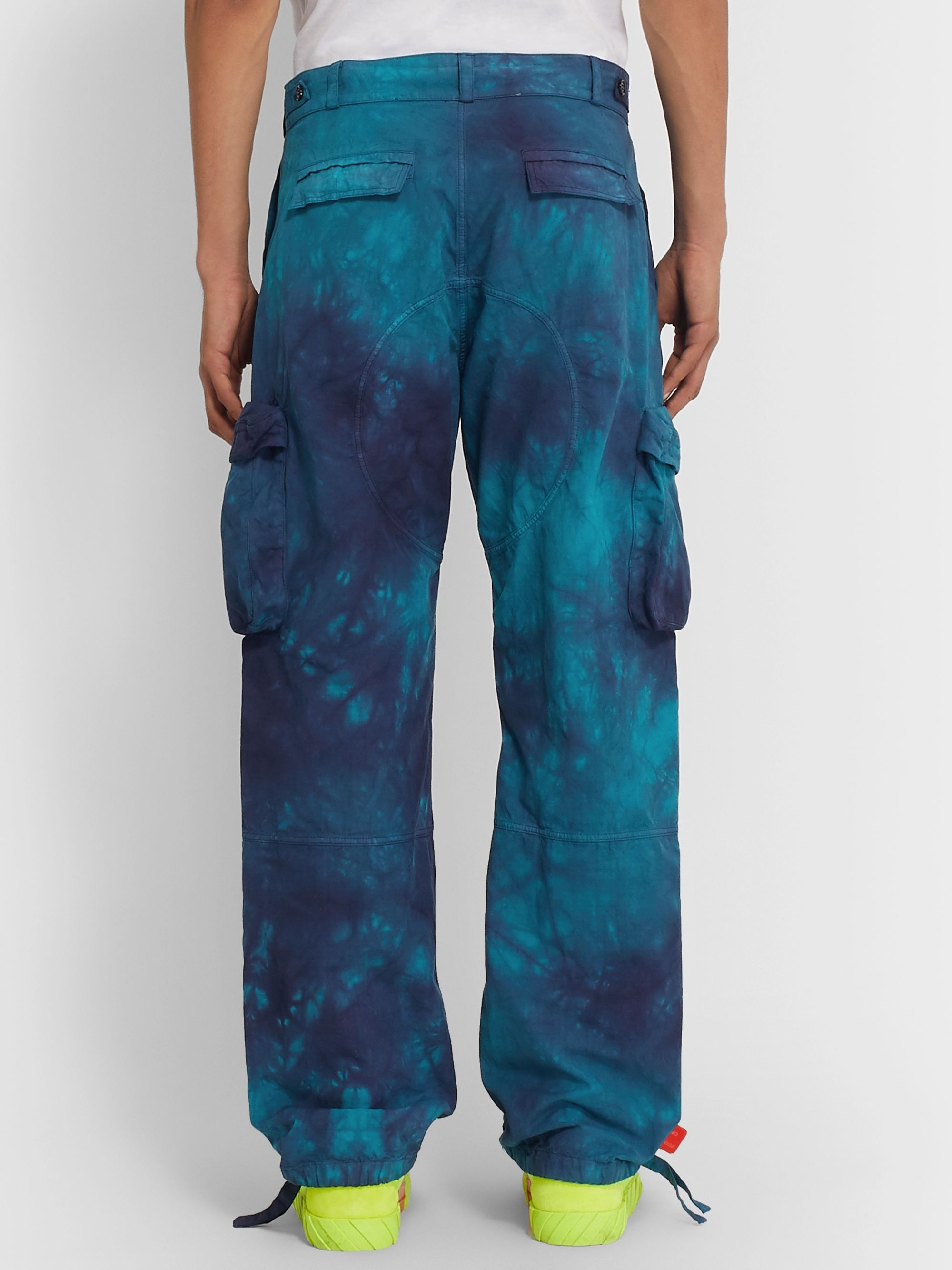 Off-White Tie-Dyed Cotton-Ripstop Cargo Trousers