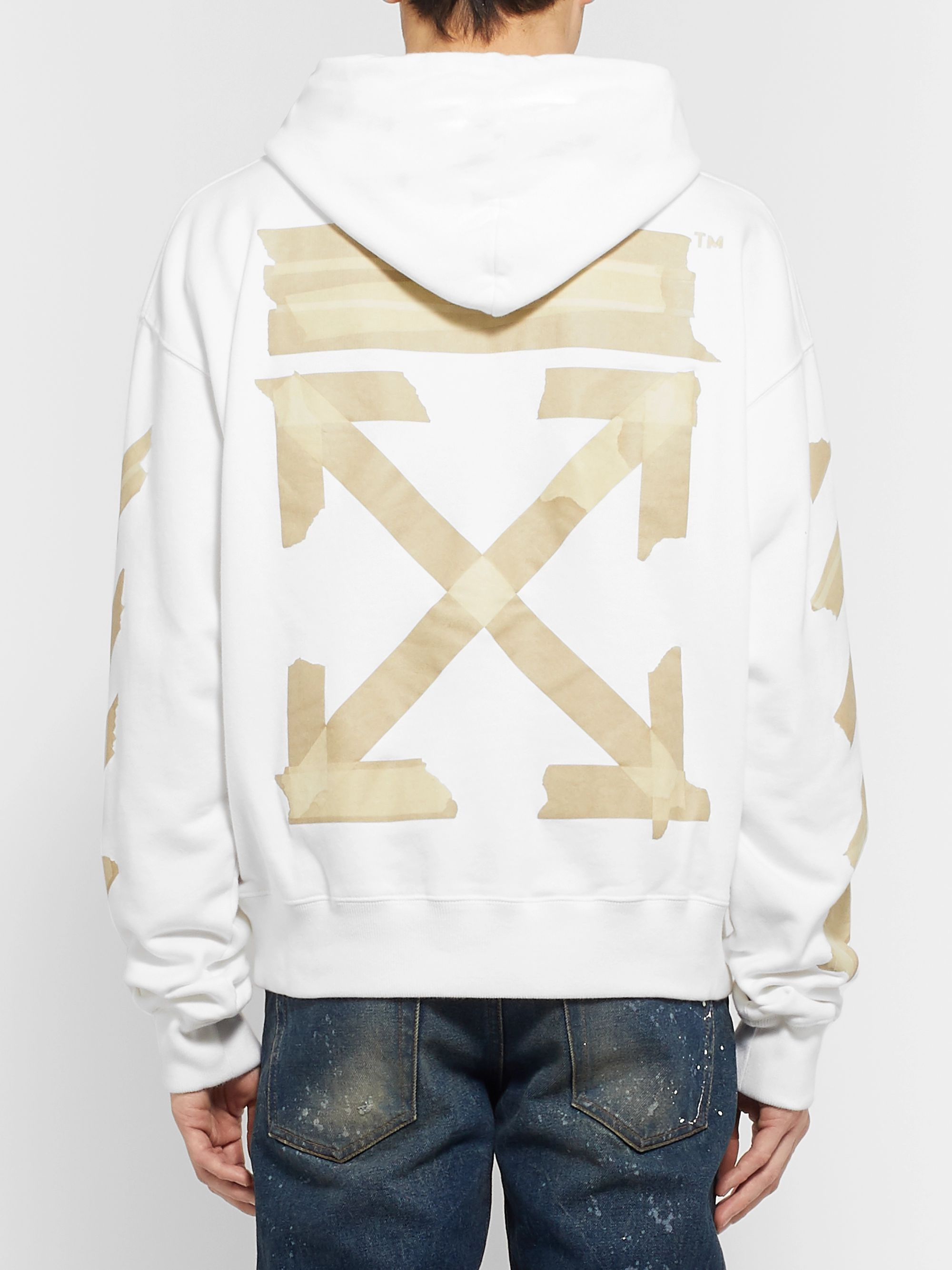 Off-White Logo-Print Fleece-Back Cotton-Jersey Hoodie