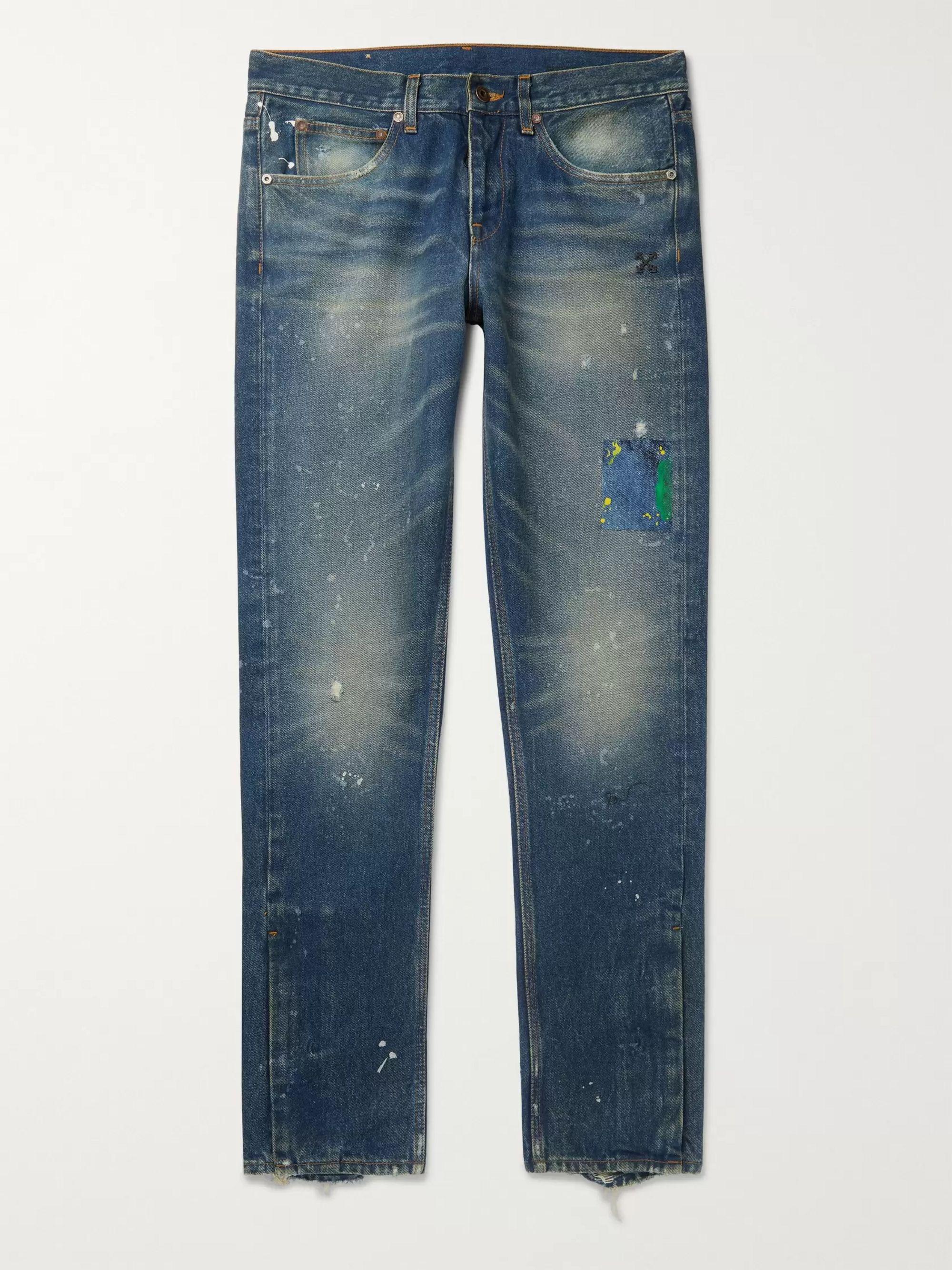 오프화이트 Off-White Blue Slim-Fit Distressed Paint-Splattered Denim Jeans,Blue
