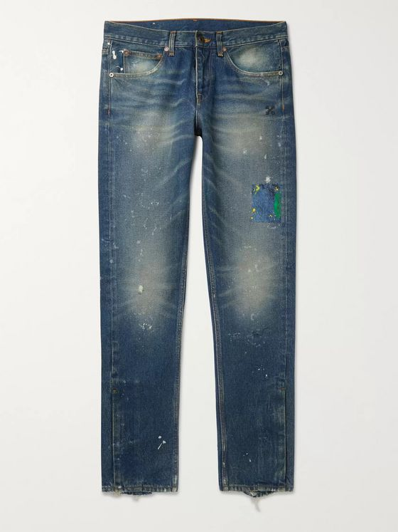 Off-White Slim-Fit Distressed Paint-Splattered Denim Jeans