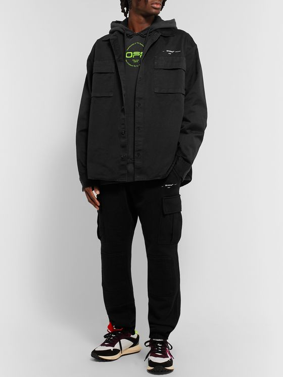Off-White Oversized Logo-Print Cotton-Twill Shirt Jacket