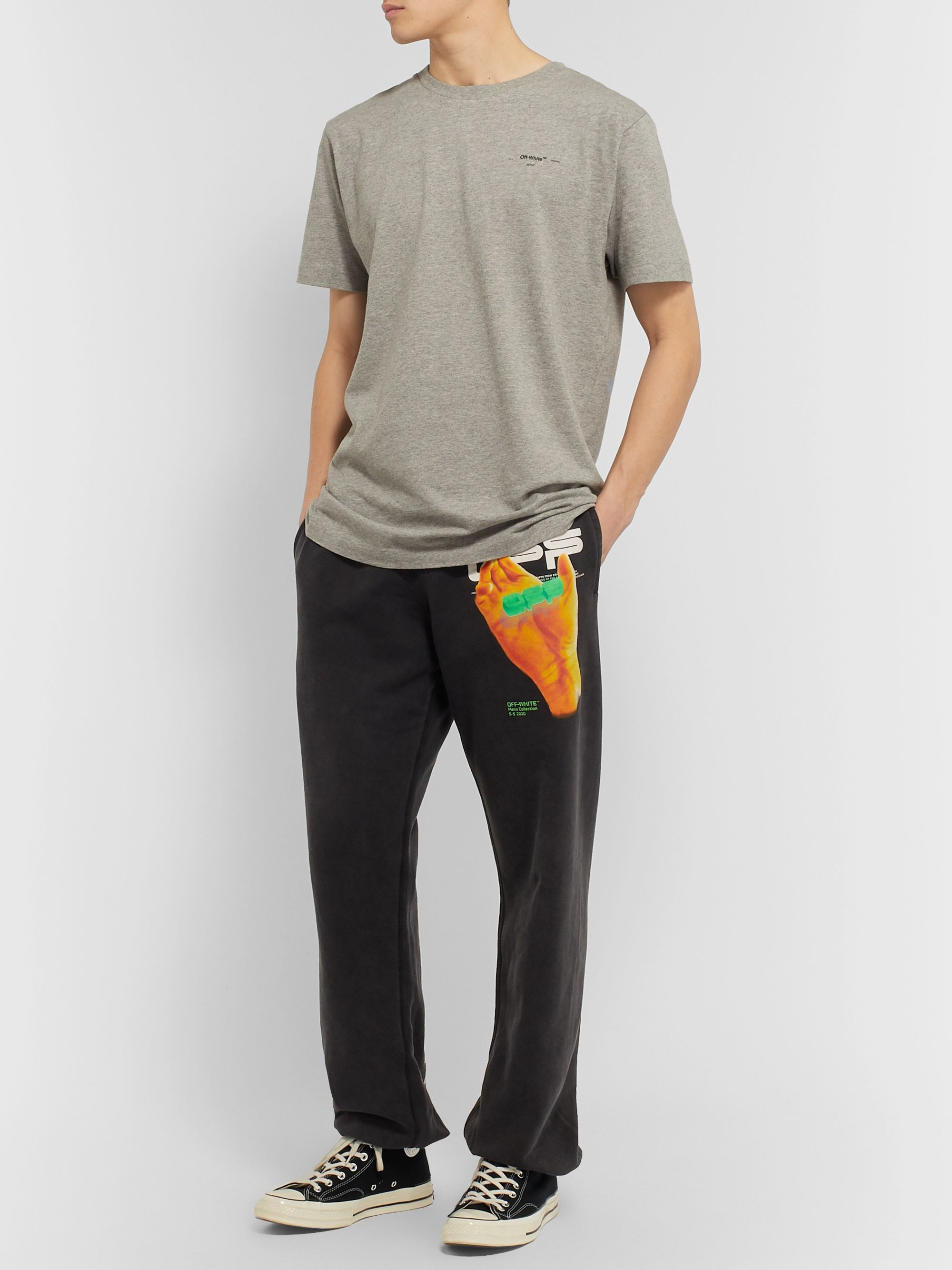 Off-White Printed Fleece-Back Cotton-Jersey Sweatpants