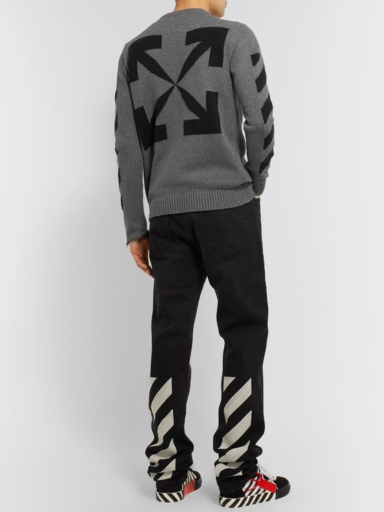 Off-White Cotton-Jacquard Sweater