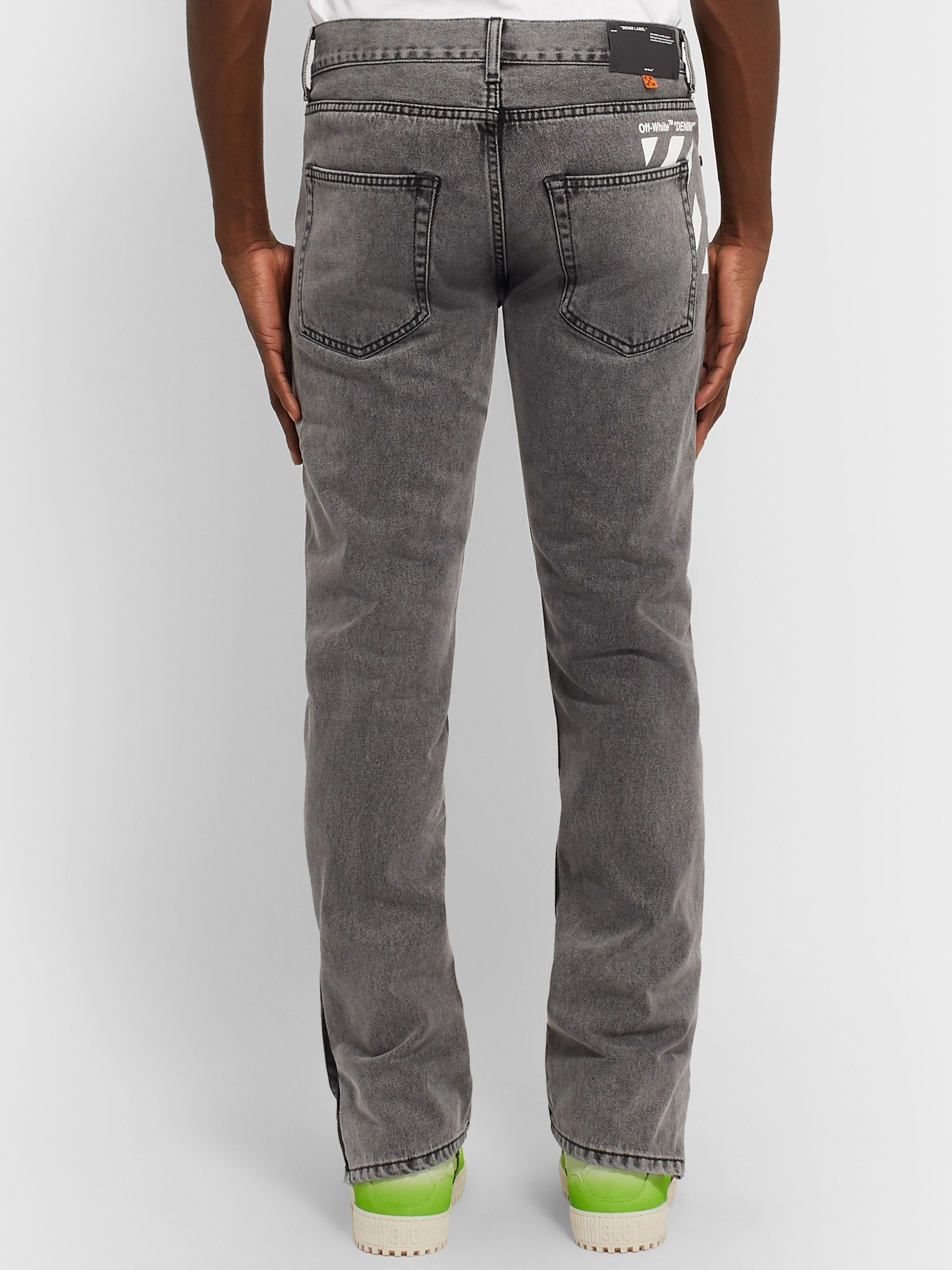 Off-White Slim-Fit Logo-Print Stonewashed Denim Jeans