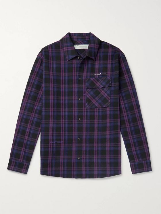 Off-White Oversized Logo-Appliquéd Checked Cotton-Blend Flannel Shirt