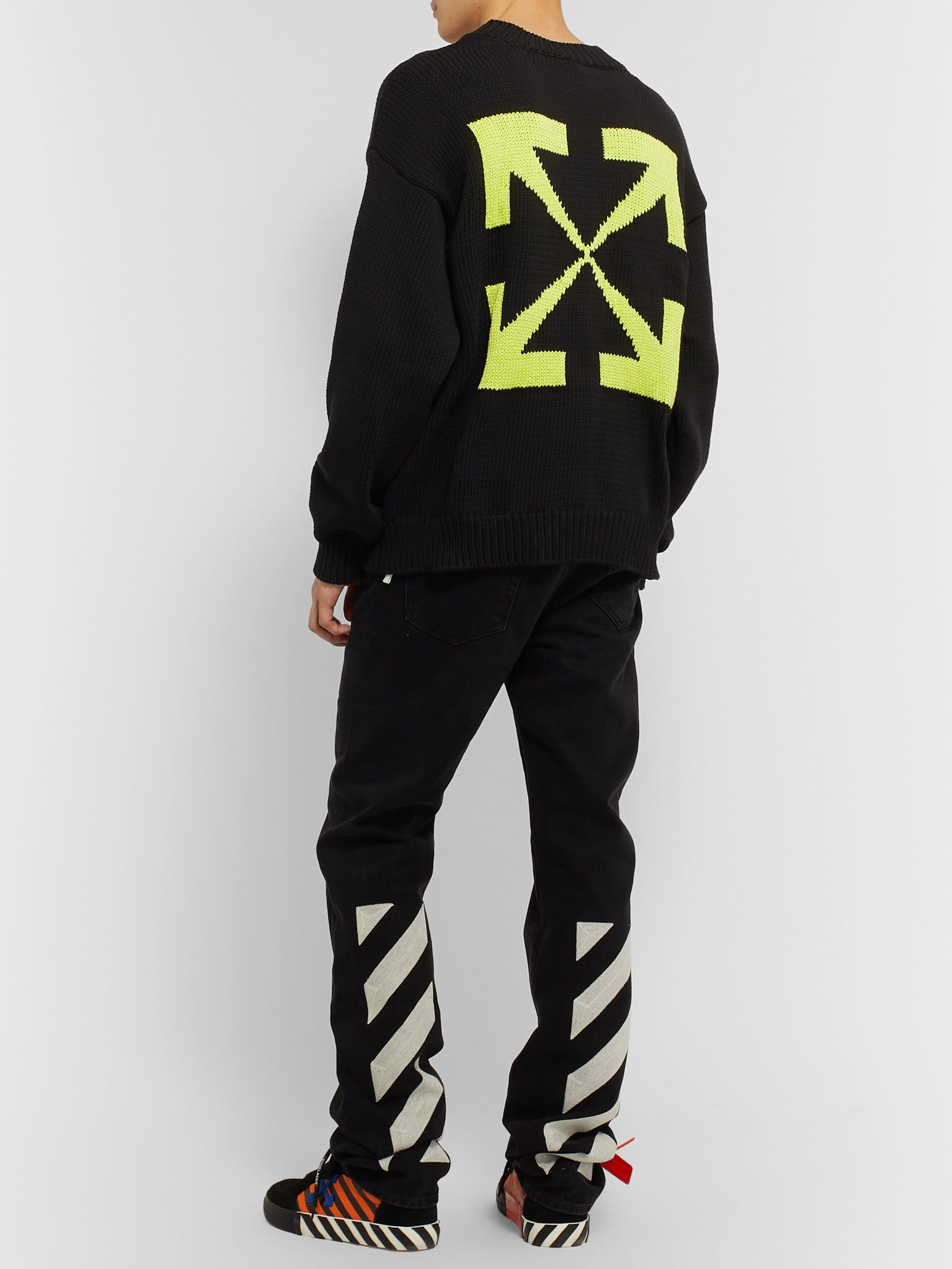 Off-White Logo-Intarsia Cotton-Blend Sweater