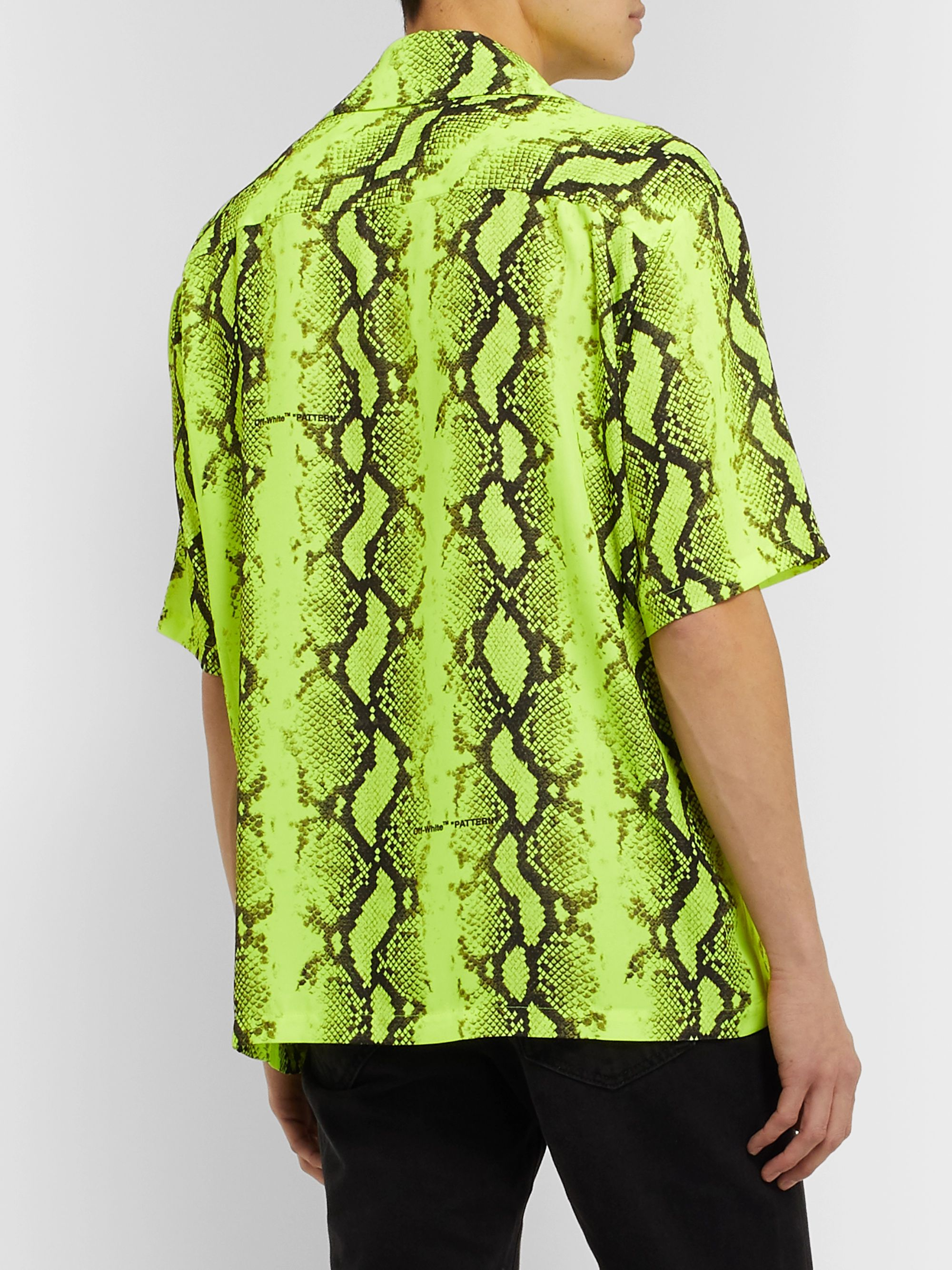 Off-White Camp-Collar Printed Voile Shirt