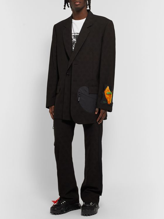 Off-White Oversized Appliquéd Shell-Trimmed Wool-Jacquard Suit Jacket