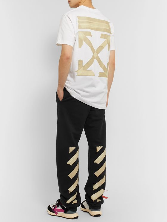 Off-White Logo-Print Fleece-Back Cotton-Jersey Sweatpants