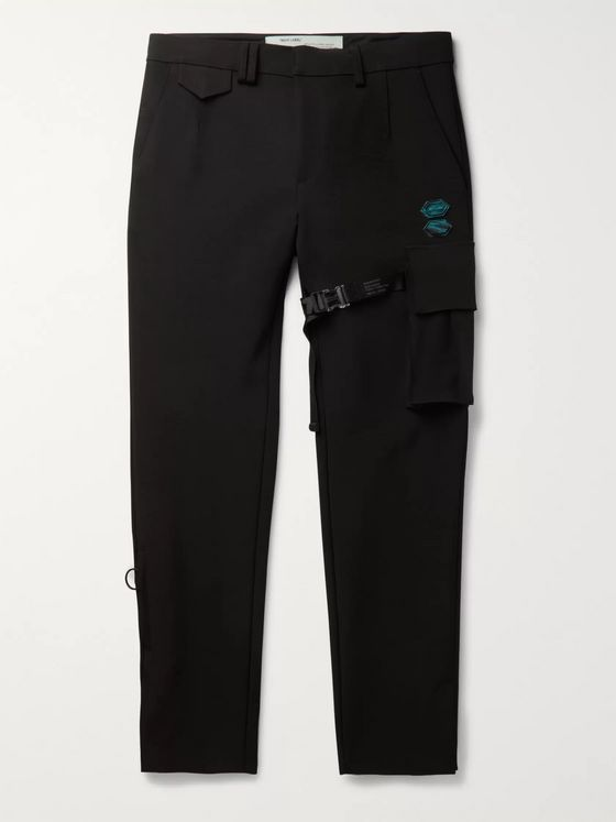Off-White Slim-Fit Appliquéd Stretch-Scuba Suit Trousers