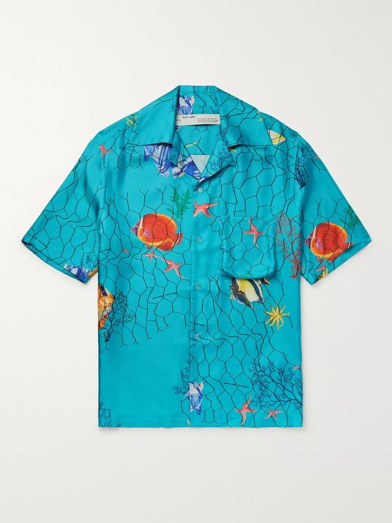 Off-White Camp-Collar Printed Silk-Twill Shirt