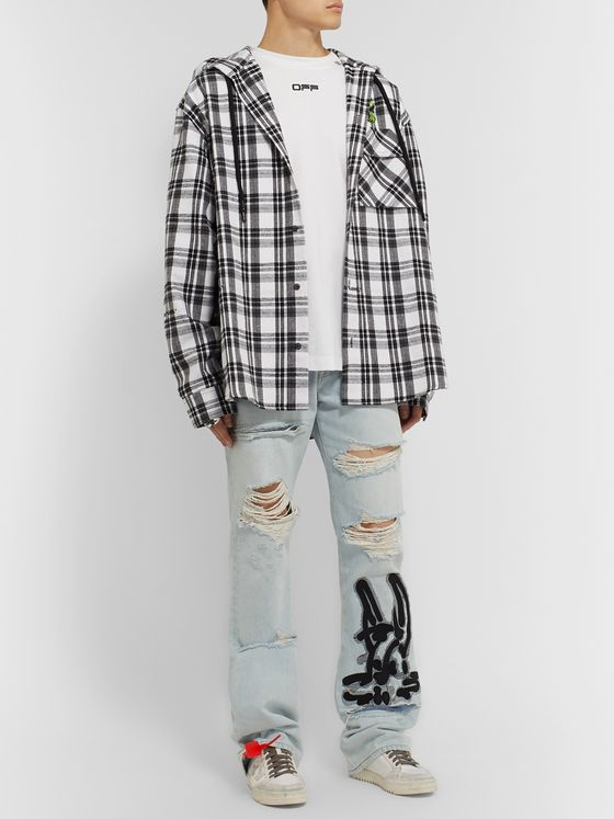 Off-White + EV BRAVADO Distressed Appliquéd Denim Jeans