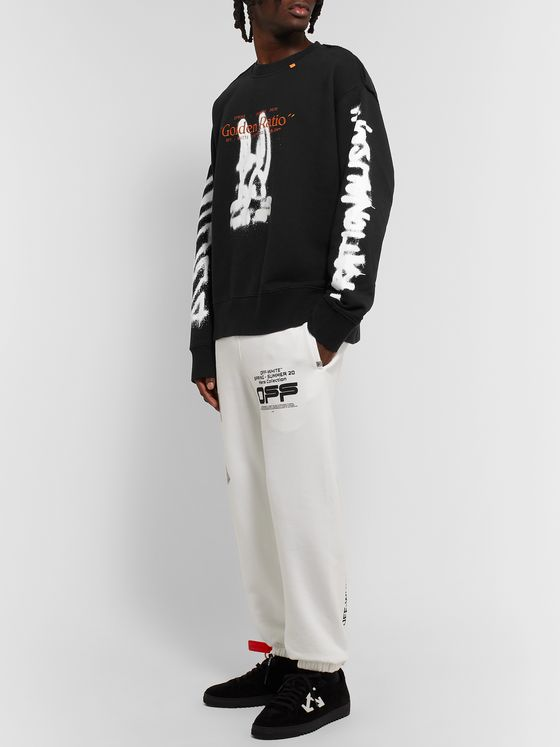 Off-White Oversized Embroidered Logo-Print Loopback Cotton-Jersey Sweatshirt