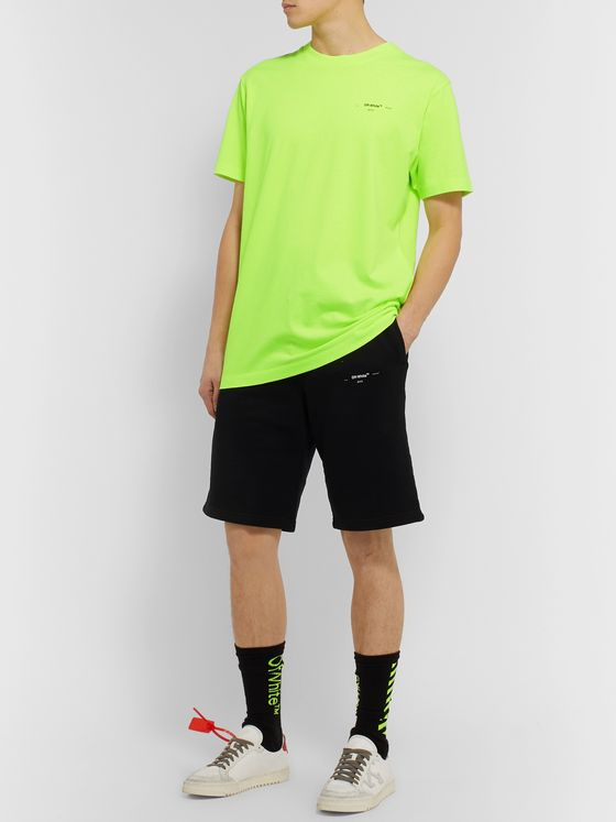 Off-White Slim-Fit Logo-Print Neon Cotton-Jersey T-Shirt