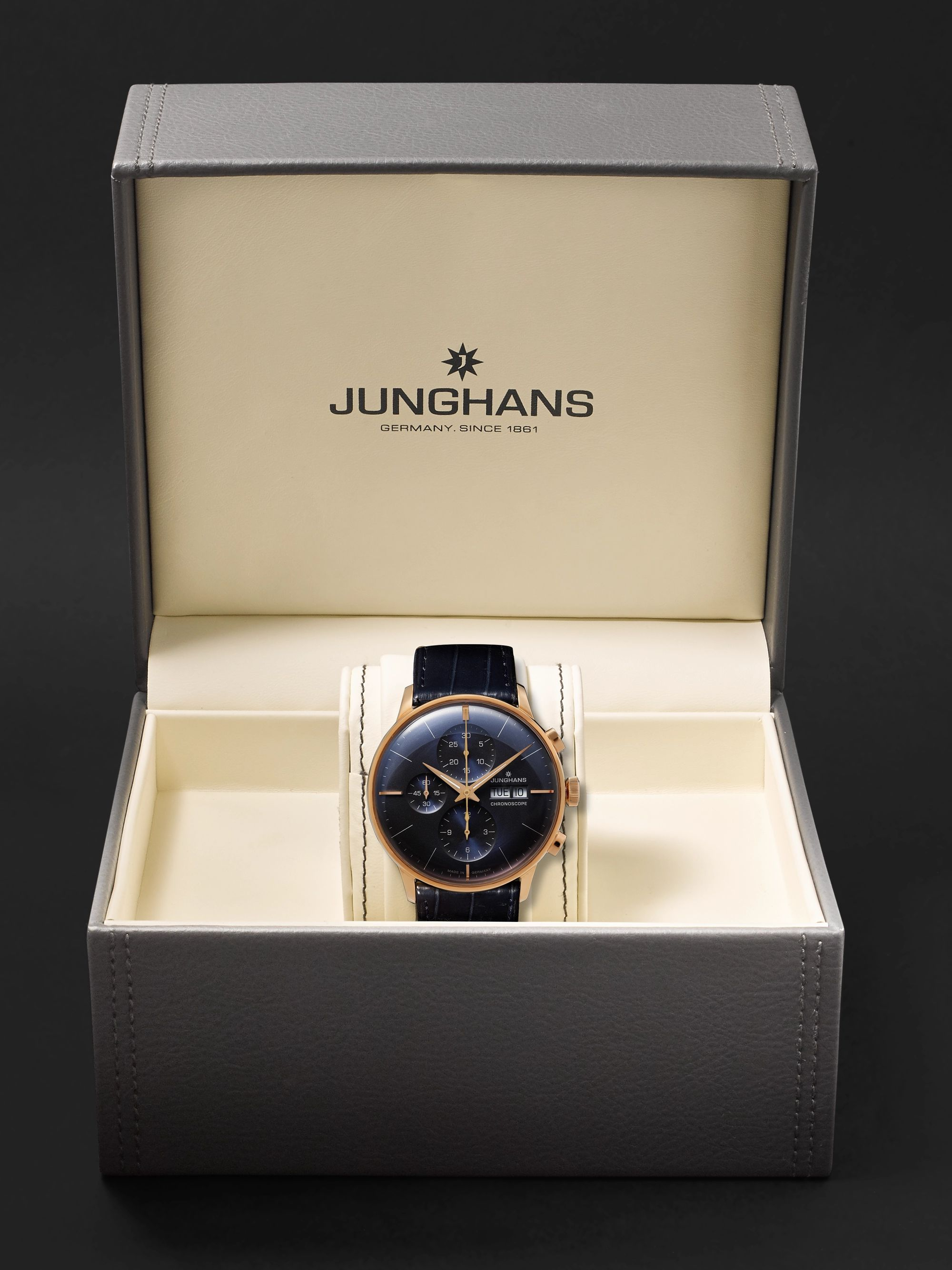 Junghans Meister Automatic Chronoscope 40mm Gold-Tone and Alligator Watch, Ref. No. 027/7924.01