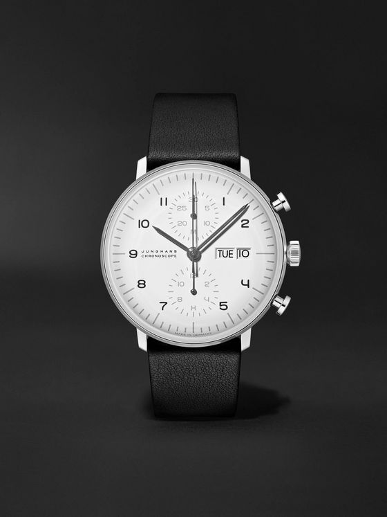 Junghans Limited Edition Max Bill Chronoscope 40mm Stainless Steel and Leather Watch and Table Clock Set, Ref No. 363/2919.01