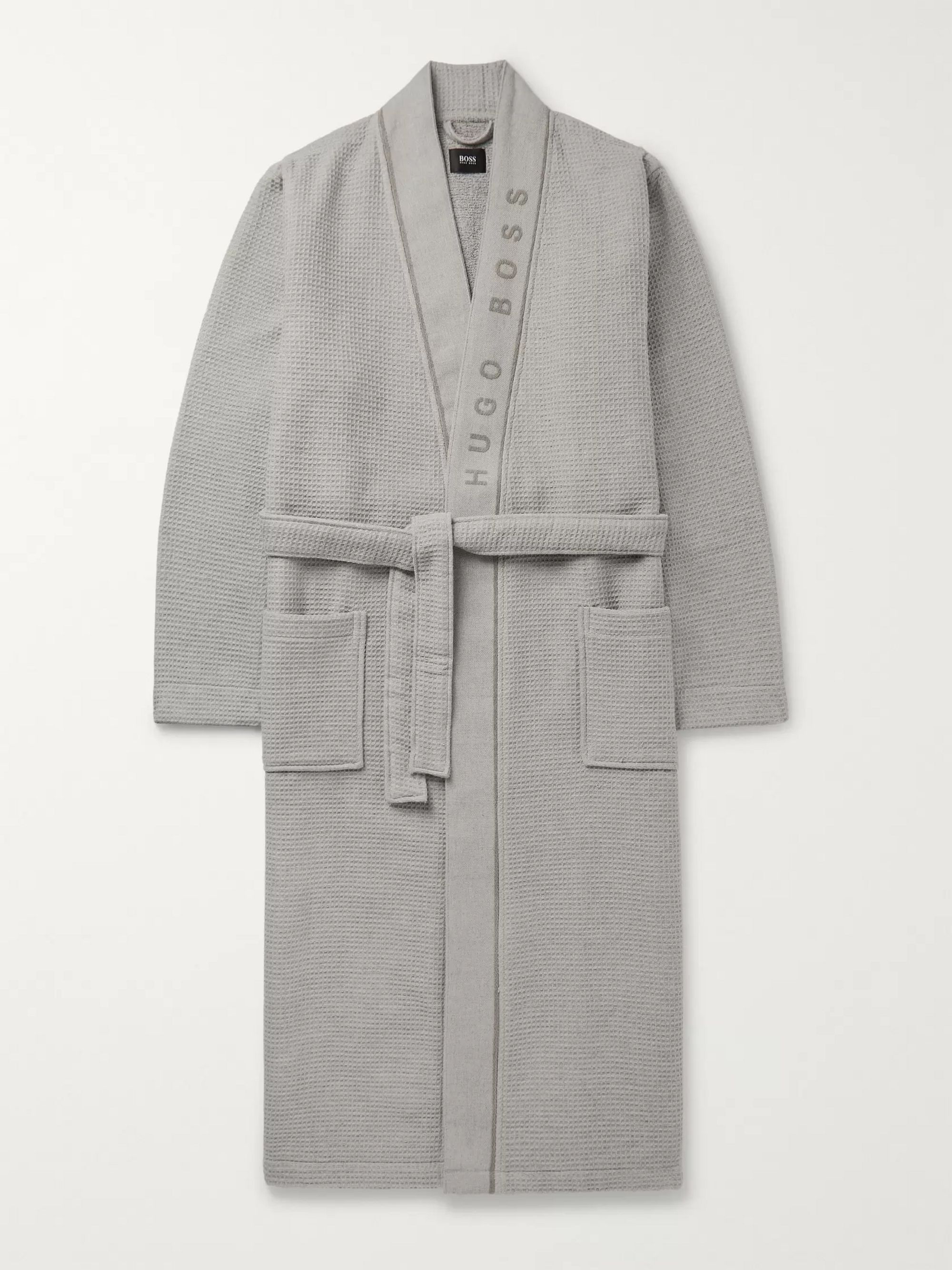 Hugo Boss Logo-Jacquard Waffle-Knit Cotton-Terry Robe