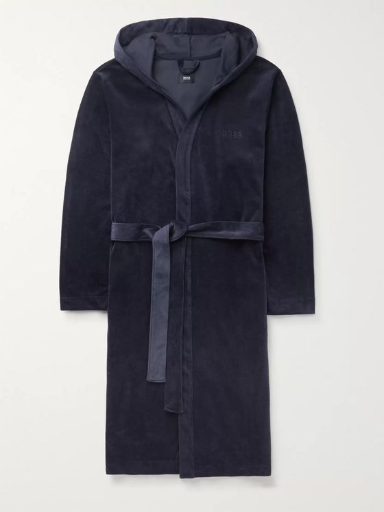 Hugo Boss Cotton-Blend Velour Hooded Robe