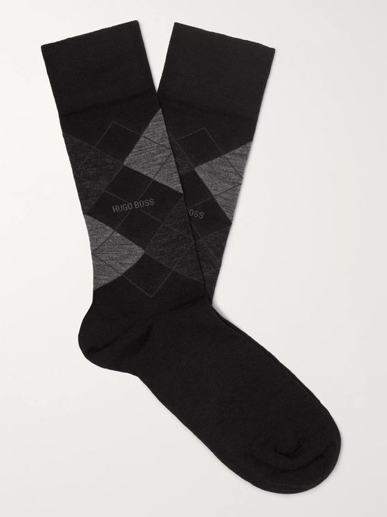 Hugo Boss John Argyle Stretch Wool-Blend Socks