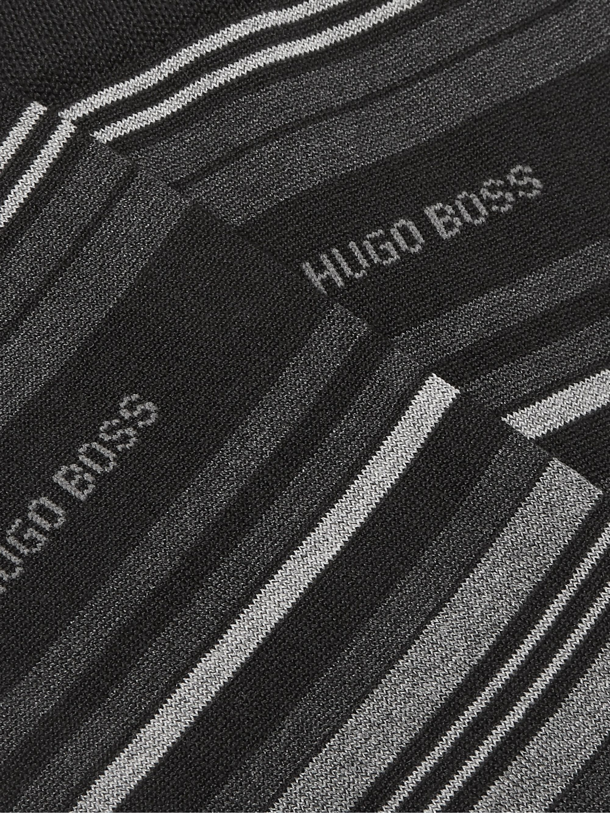 Hugo Boss Striped Stretch Cotton-Blend Socks