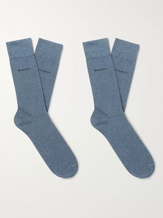 Hugo Boss Two-Pack Mélange Stretch Cotton-Blend Socks