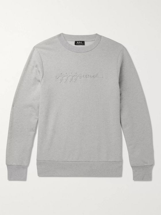 A.P.C. + JJJJound Logo-Appliquéd Mélange Loopback Cotton-Jersey Sweatshirt