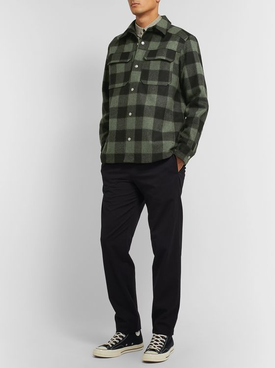A.P.C. Adrien Checked Wool-Blend Flannel Overshirt