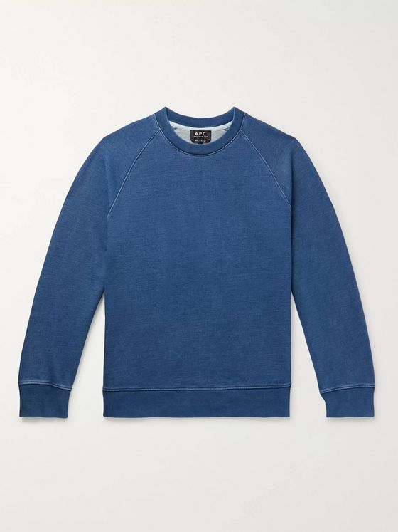 A.P.C. Robert Indigo-Dyed Loopback Cotton-Jersey Sweatshirt